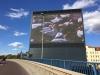 1. Testlauf des Hallcube Werbeturms in Halle läuft